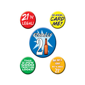 21st Birthday Party Buttons - 5ct - 21st Birthday Party Stuff
