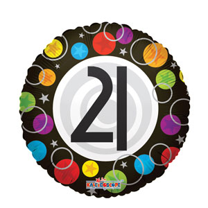 21st Happy Birthday Dots Balloon- 18in - 21st Birthday Decorations
