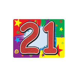 Glittered 21 Sign - 10in x 15in - 21st Birthday Party Stuff
