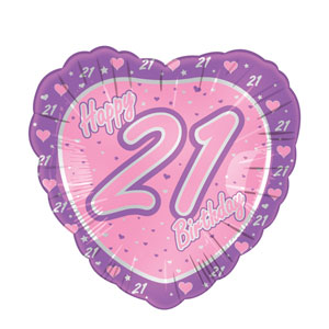21st Birthday Pink Heart Balloon- 18in - 21st Birthday Decorations