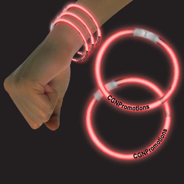 8 Inch Glow Bracelets - Red