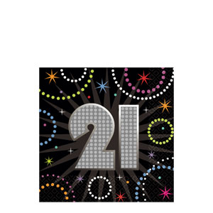 Time to Party 21 Beverage Napkins- 16ct - 21st Birthday Decorations