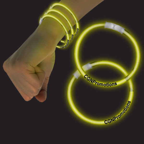 8 Inch Glow Bracelets - Yellow
