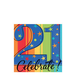 A Year To Celebrate 21 Beverage Napkins- 16ct - 21st Birthday Decorations