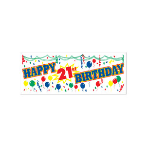 Happy 21st Birthday Banner - 5ft - 21st Birthday Decorations