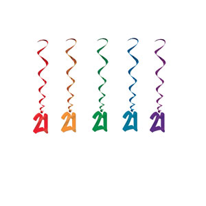 21 Multicolored Whirls - 5ct - 21st Birthday Decorations