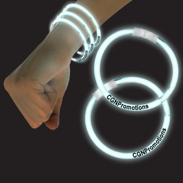 8 Inch Glow Bracelets - White
