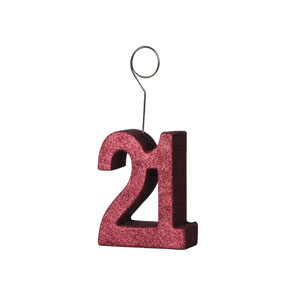 Red Glittered 21 Balloon Holder - 6oz - 21st Birthday Decorations